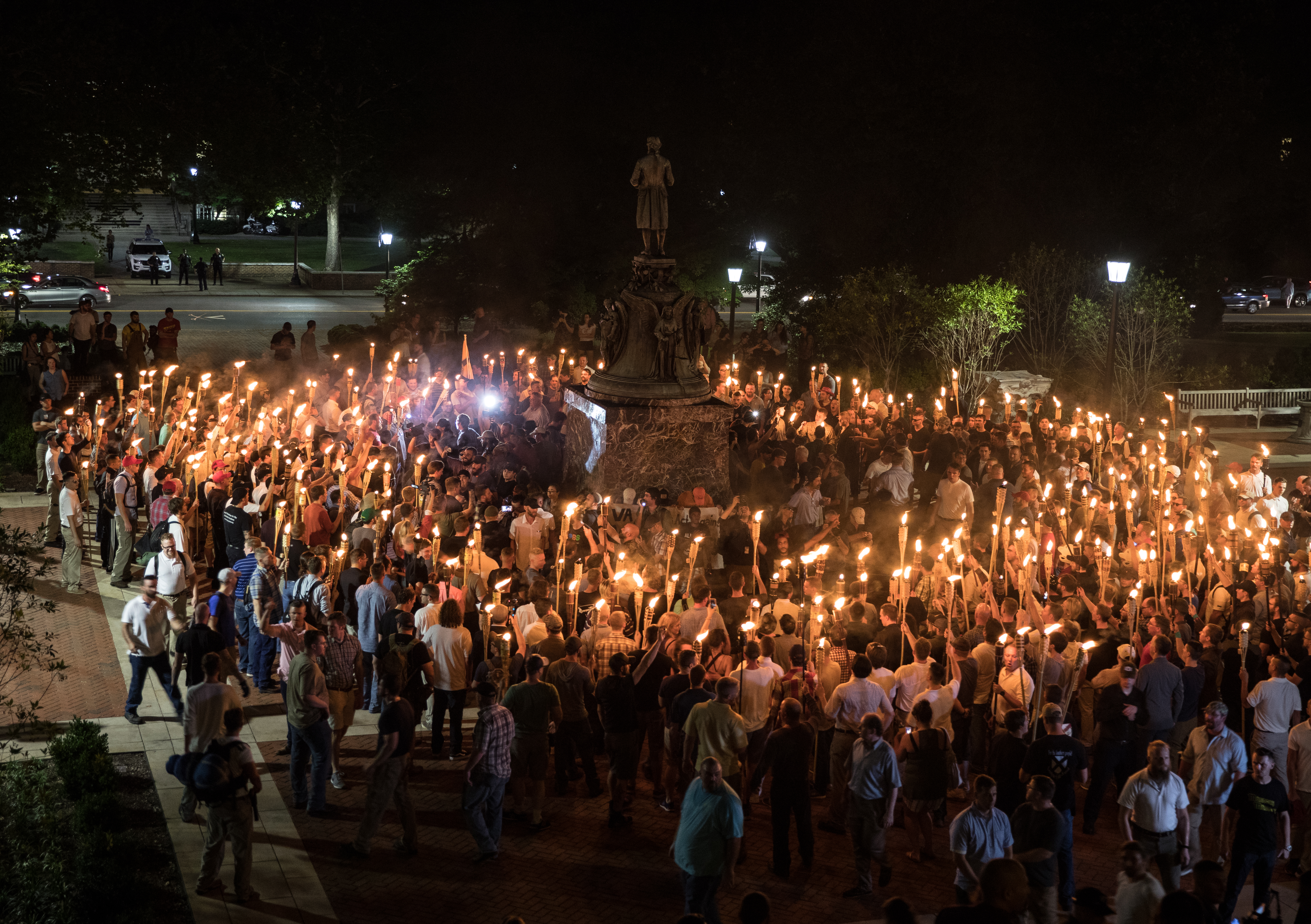 Torch march of white nationalists