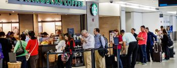 The queue for Starbucks Coffee at Miami International Airport.