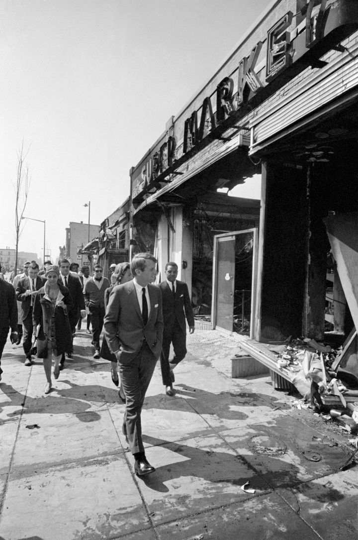 Robert F. Kennedy Touring Riot Damage