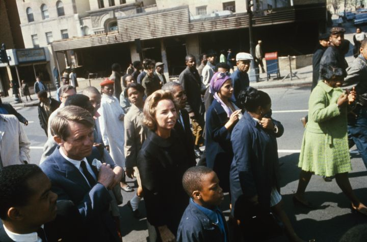 Robert Kennedy and Wife Ethel Touring Fire-Damaged Area of Washington