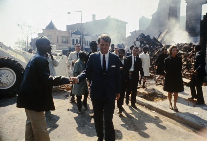 Robert Kennedy Touring Washington District After Fires