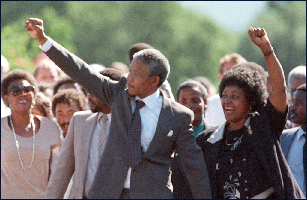 ANC leader Nelson Mandela and wife Winnie raise fi