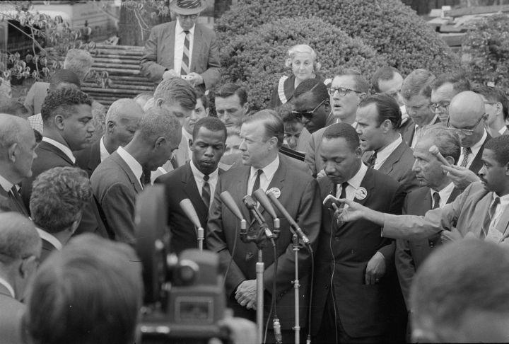 Civil Rights Leaders Talk To Press