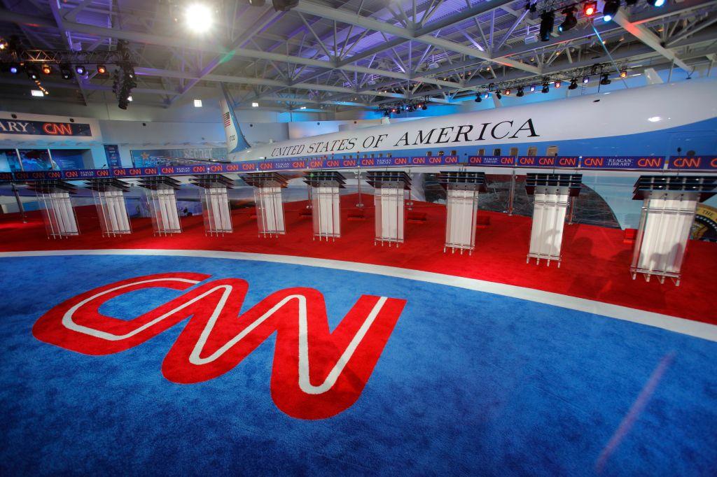 Presidential Debate Features Air Force One Background Before Debate Starts