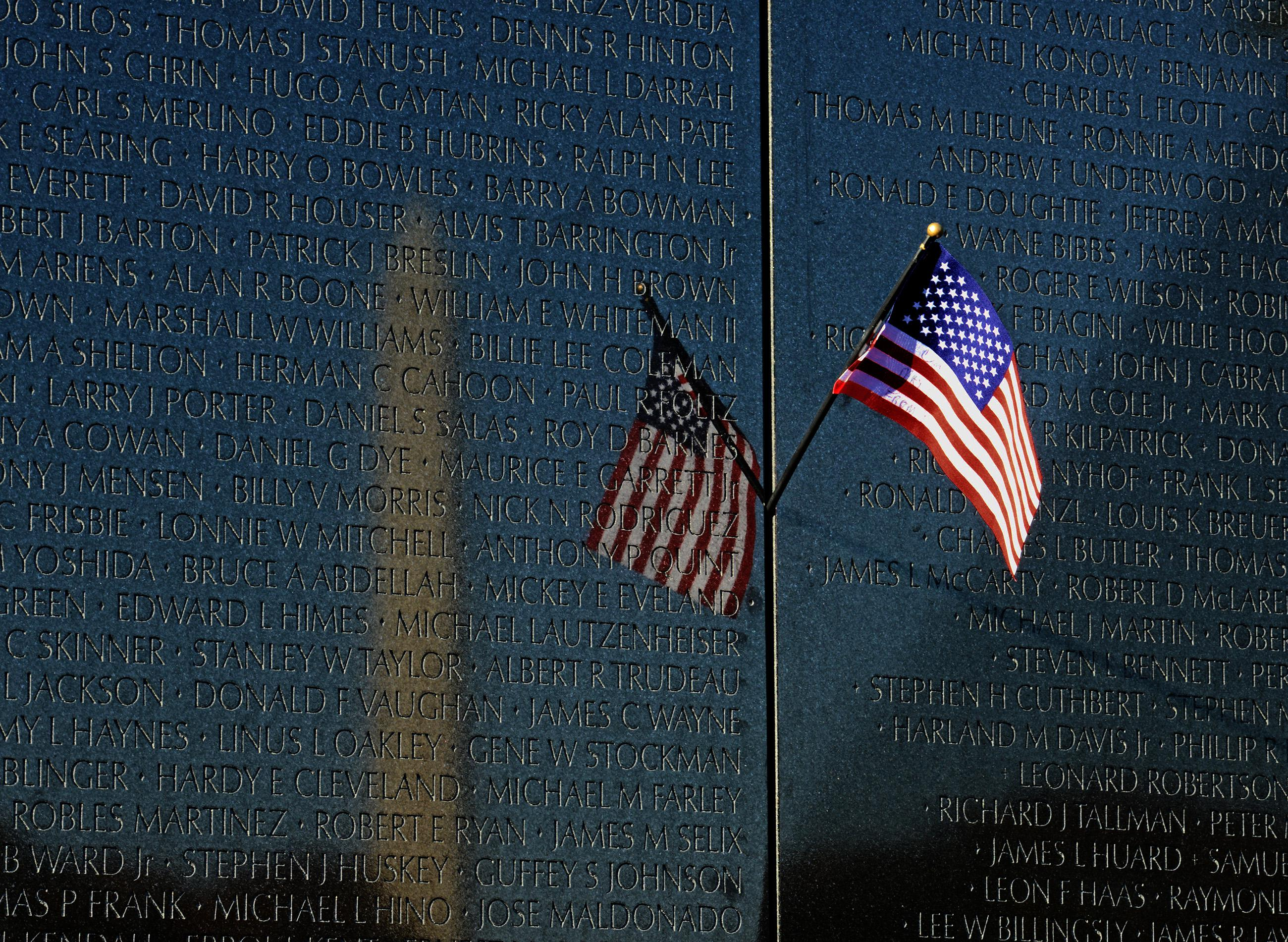 Veterans Day at the Vietnam War Memorial in Washington, DC.