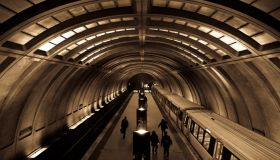 A train entering the Medical Center Station of the Washington DC Metro