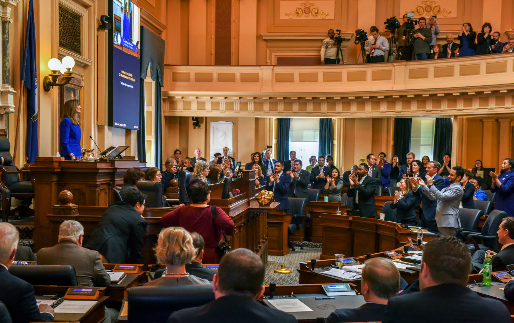 Start of the Virginia General Assembly, which went solidly blue in 2019, on January 08 in Richmond, VA.