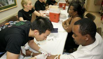A man having a blood test at Jessie Trice Community Health Center