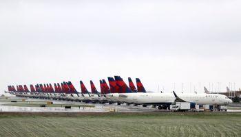 Delta Planes Sit Idle At Kansas City International Airport