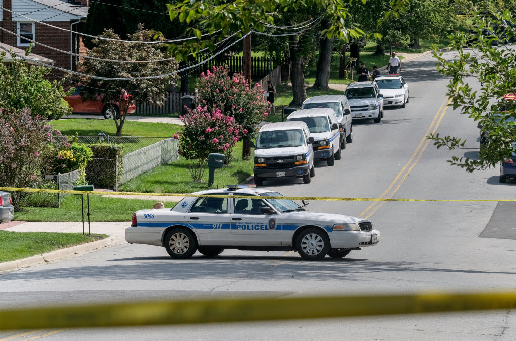CLINTON, MD - AUGUST 18: A Prince Georges County Police car blo